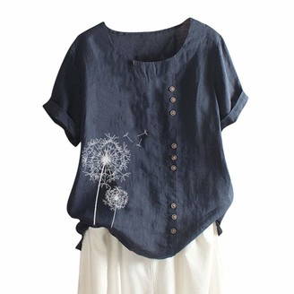 Kalorywee Women Tops Linen T Shirts for Women Plus Size Vintage Blouse Dot Print O-Neck T-Shirt Tops Ladies' Summer Short Sleeved Loose Shirt for UK 6-20 Blue