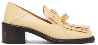 Gucci Dora Tiger-head Fringed Leather Loafers - Cream