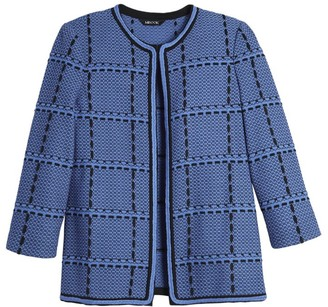 Misook Whipstitch Windowpane Knit Jacket