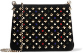 Christian Louboutin Triloubi Small Embellished Suede And Leather Shoulder Bag - Black
