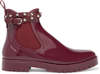 Red(V) Metal Dot Strap-detailed Glossed-rubber Rain Boots
