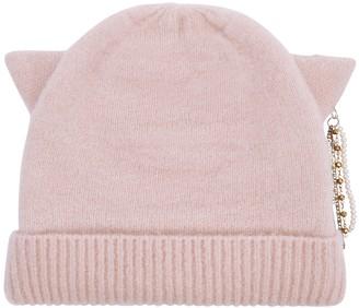 Eugenia Kim Felix light pink embellished knitted beanie