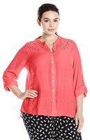 Notations Women's Plus Size 3/4 Sleeve Mandarin Tuwa Blouse with Lace Yoke