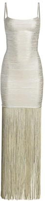 Herve Leger Metallic Fringe Maxi Dress