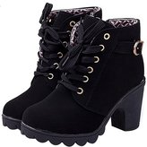 Donalworld Women Vintage High Heel Lace Up Thick Ankle Boot