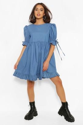boohoo Chambray Puff Sleeve Smock Dress