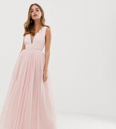 Dolly & Delicious Petite plunge front prom maxi dress in blush