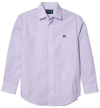 LAUREN Ralph Lauren Kids Solid Dress Shirt (Big Kids) (Lilac) Boy's Clothing