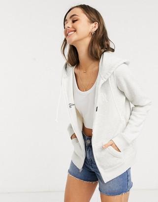 Hollister zip thru fleece hoodie with front logo-Grey