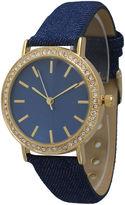 OLIVIA PRATT Olivia Pratt Womens Gold-Tone Rhinestone Accent Navy Denim Faux Leather Strap Watch 14087
