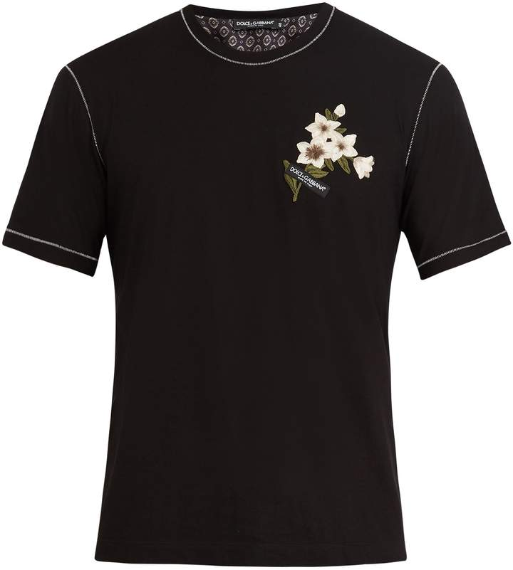 Dolce & Gabbana Crew-neck floral embroidered T-shirt