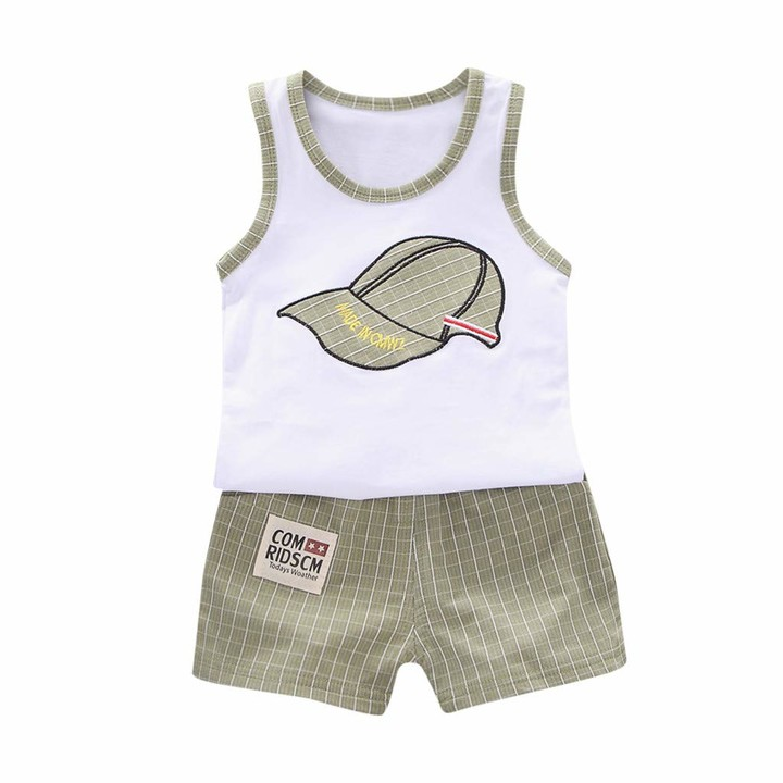 Thumbnail for your product : Julhold Toddler Baby Boy Kids Cartoon Leisure Loose Breathable Coat Tops Letter Vest Tops +Grid Shorts Outfits Set New Green