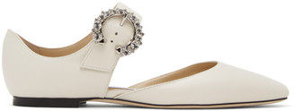 Jimmy Choo White Gin Mary-Jane Flats