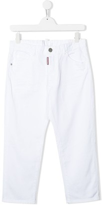 DSQUARED2 TEEN mid-rise straight leg jeans