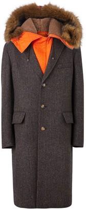 Burberry Detachable Hood Herringbone Wool Tailored Coat