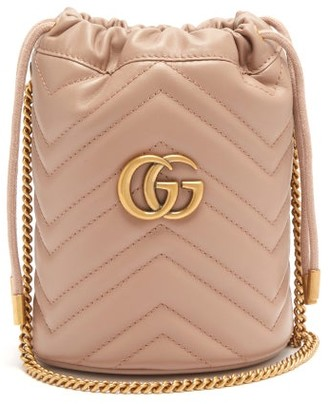 Gucci Gg Marmont Leather Bucket Bag - Womens - Nude