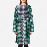 Diane von Furstenberg Women's Flare Belted Coat Cossier Large Aqua