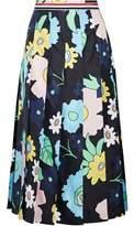 Thom Browne Pleated Floral-Print Silk-Twill Midi Skirt