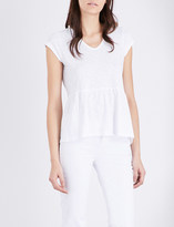 The White Company Peplum-hem cotton-jersey top