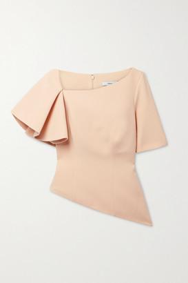 Safiyaa Sylva Asymmetric Ruffled Stretch-crepe Top - Peach