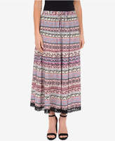 NY Collection Printed Tiered Crochet-Trim Skirt