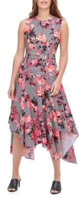 Calvin Klein Floral Striped Midi Dress