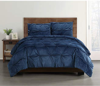 Truly Soft Everyday Pleated Velvet Full/Queen Comforter Set Bedding
