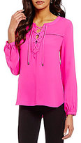 Gibson & Latimer Front Lace-Up Long Sleeve Blouse