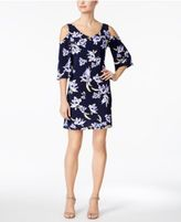 Connected Petite Cold-Shoulder Floral-Print Sheath Dress