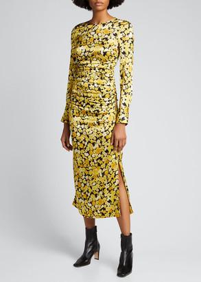 Ganni Floral Print Silk Stretch Satin Body-Con Dress
