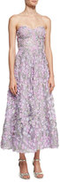 Marchesa Strapless 3D Floral Cocktail Dress, Lilac