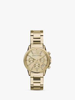 Armani Exchange AX4327 Women's Crystal Chronograph Date Bracelet Strap Watch, Gold