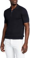 Kiton Men's Short-Sleeve Zip Polo Shirt