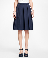 Brooks Brothers Stretch-Cotton Pleated Skirt