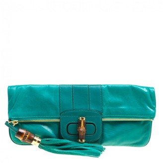Gucci Bamboo Green Leather Clutch bags