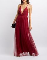 Charlotte Russe Pleated Mesh Tulle Gown