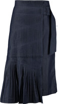 Tibi Manuela pleated denim midi skirt