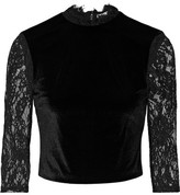 Alice + Olivia Jenny Cropped Lace-paneled Velvet Top - Black