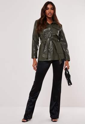 Missguided Khaki Faux Leather Utility Jacket