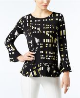 Alfani Printed Flounce-Hem Top, Only at Macy's