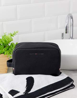 Tommy Hilfiger faux leather wash bag in black with flag logo