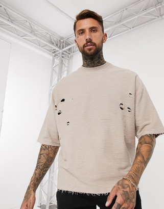 ASOS DESIGN oversized t-shirt with half sleeve and distressing