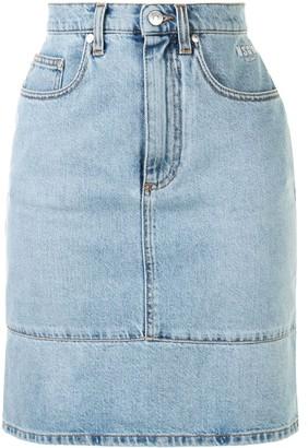 MSGM Panelled High-Waisted Denim Skirt