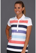 adidas ClimaCool Rugby Stripe Polo '13 (White/Waterfall/Watermelon/Nautical) - Apparel