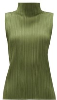 Pleats Please Issey Miyake High-neck Technical-pleated Top - Womens - Khaki