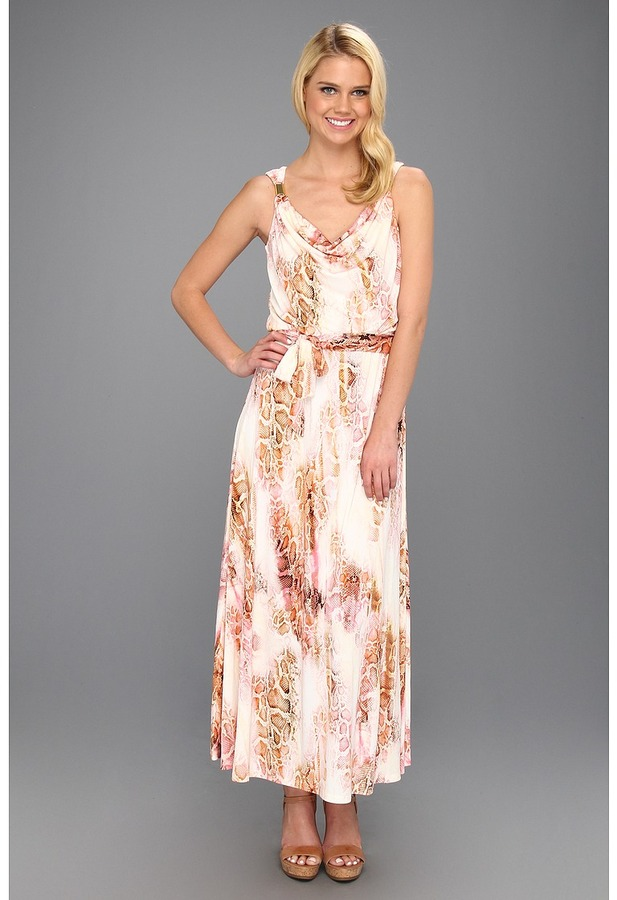 Calvin Klein Printed Maxi Dress W/ Hardware Women's Dress