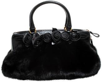 Valentino Black Applique Fur and Snake Skin Bag