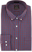 Neiman Marcus Trim-Fit No-Iron Check Dress Shirt, Burgundy/Navy
