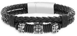 Lord & Taylor Stainless Steel & Leather Double Strand Braided Bracelet