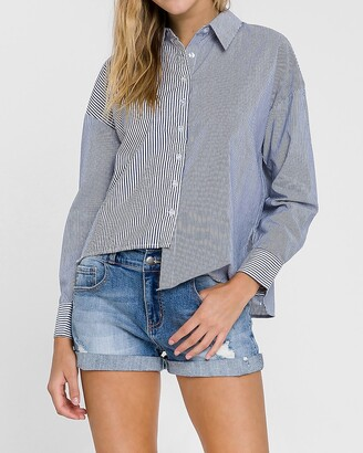 Express Grey Lab Striped Asymmetric Button Down Shirt